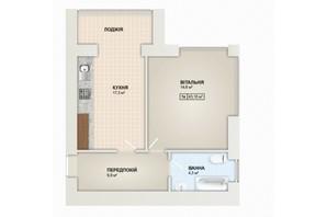 ЖК Містечко Козацьке: планировка 1-комнатной квартиры 43.1 м²