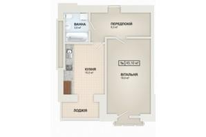ЖК Містечко Козацьке: планировка 1-комнатной квартиры 44.9 м²