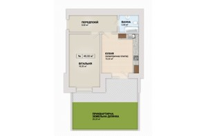 ЖК Містечко Козацьке: планировка 1-комнатной квартиры 48 м²