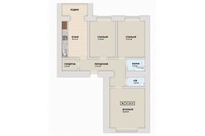 ЖК Містечко Козацьке: планировка 3-комнатной квартиры 87.8 м²