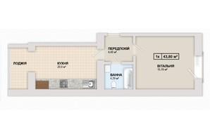 ЖК Містечко Козацьке: планировка 1-комнатной квартиры 43.8 м²
