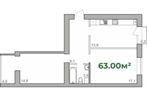 ЖК Містечко Липки: планування 2-кімнатної квартири 63 м²