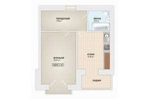 ЖК Містечко Мануфактура: планировка 1-комнатной квартиры 42.1 м²