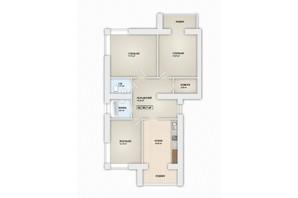 ЖК Містечко Мануфактура: планировка 3-комнатной квартиры 90.7 м²