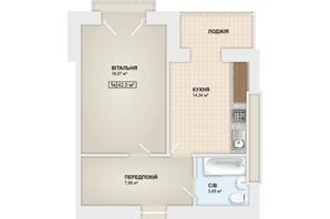 ЖК Містечко Мануфактура: планировка 1-комнатной квартиры 42 м²