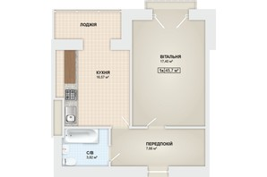 ЖК Містечко Мануфактура: планировка 1-комнатной квартиры 45.7 м²