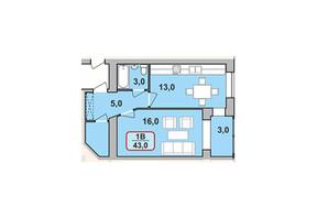 ЖК Містечко Центральне: планировка 1-комнатной квартиры 43 м²