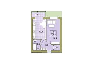 ЖК Містечко Центральне: планировка 1-комнатной квартиры 42.7 м²