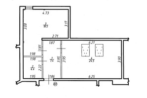 ЖК Містечко Центральне: планировка 1-комнатной квартиры 54.8 м²