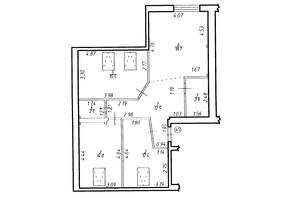 ЖК Містечко Центральне: планировка 3-комнатной квартиры 79.1 м²