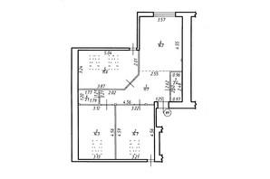 ЖК Містечко Центральне: планировка 3-комнатной квартиры 77 м²