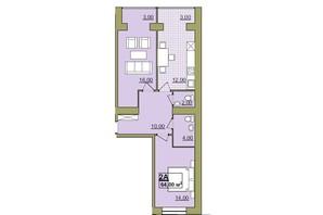 ЖК Містечко Центральне: планировка 2-комнатной квартиры 64 м²