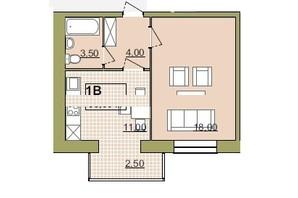ЖК Містечко Центральне: планировка 1-комнатной квартиры 39 м²