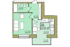 ЖК Містечко Центральне: планировка 1-комнатной квартиры 33 м²