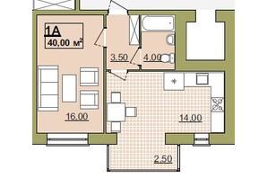 ЖК Містечко Центральне: планировка 1-комнатной квартиры 40 м²