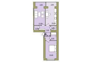 ЖК Містечко Центральне: планировка 2-комнатной квартиры 61 м²