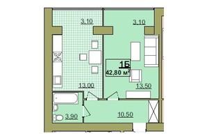 ЖК Містечко Центральне: планировка 1-комнатной квартиры 42.8 м²