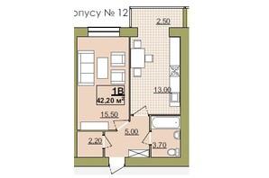 ЖК Містечко Центральне: планировка 1-комнатной квартиры 42.2 м²