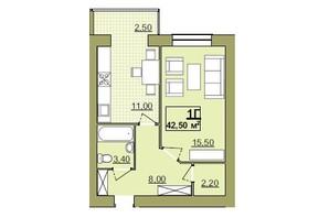 ЖК Містечко Центральне: планировка 1-комнатной квартиры 42.5 м²