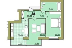 ЖК Містечко Центральне: планировка 2-комнатной квартиры 56.5 м²