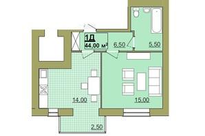 ЖК Містечко Центральне: планировка 1-комнатной квартиры 44 м²