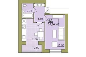 ЖК Містечко Центральне: планировка 1-комнатной квартиры 37.5 м²