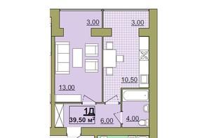 ЖК Містечко Центральне: планировка 1-комнатной квартиры 39.5 м²