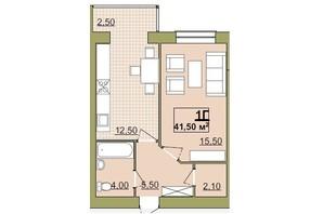 ЖК Містечко Центральне: планировка 1-комнатной квартиры 41.5 м²