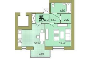 ЖК Містечко Центральне: планировка 1-комнатной квартиры 43.5 м²