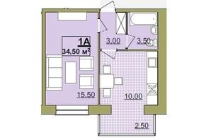ЖК Містечко Центральне: планировка 1-комнатной квартиры 34.5 м²