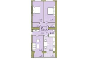 ЖК Містечко Центральне: планировка 3-комнатной квартиры 82 м²