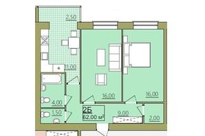 ЖК Містечко Центральне: планировка 2-комнатной квартиры 62 м²