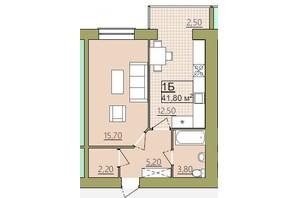 ЖК Містечко Центральне: планировка 1-комнатной квартиры 41.8 м²