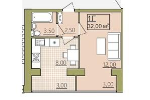 ЖК Містечко Центральне: планировка 1-комнатной квартиры 32 м²