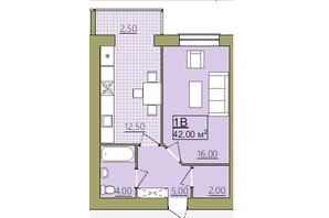 ЖК Містечко Центральне: планировка 1-комнатной квартиры 42 м²