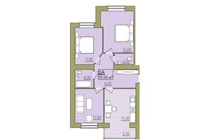 ЖК Містечко Центральне: планировка 3-комнатной квартиры 70 м²