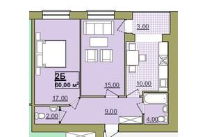 ЖК Містечко Центральне: планировка 2-комнатной квартиры 60 м²