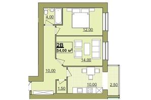 ЖК Містечко Центральне: планировка 2-комнатной квартиры 54 м²