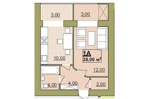 ЖК Містечко Центральне: планировка 1-комнатной квартиры 38 м²