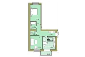 ЖК Містечко Центральне: планировка 2-комнатной квартиры 58 м²