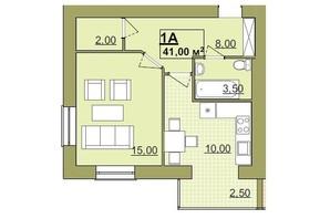 ЖК Містечко Центральне: планировка 1-комнатной квартиры 41 м²