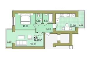 ЖК Містечко Центральне: планировка 2-комнатной квартиры 53 м²