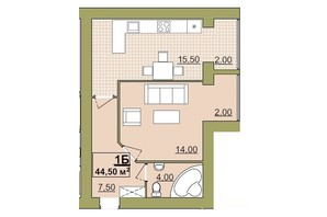 ЖК Містечко Центральне: планировка 1-комнатной квартиры 44.5 м²