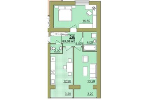 ЖК Містечко Центральне: планировка 2-комнатной квартиры 63.3 м²