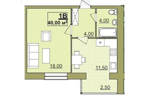 ЖК Містечко Центральне: планировка 1-комнатной квартиры 40.2 м²