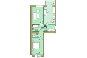 ЖК Містечко Центральне: планировка 2-комнатной квартиры 62.7 м²