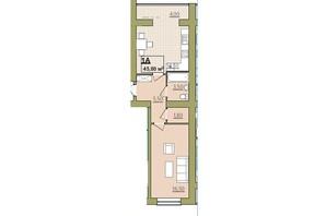 ЖК Містечко Центральне: планировка 1-комнатной квартиры 45.8 м²