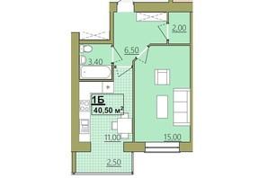 ЖК Містечко Центральне: планировка 1-комнатной квартиры 40.5 м²