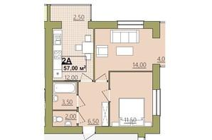 ЖК Містечко Центральне: планировка 2-комнатной квартиры 57 м²