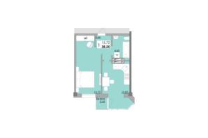 ЖК Місто Мрій: планировка 1-комнатной квартиры 38.25 м²